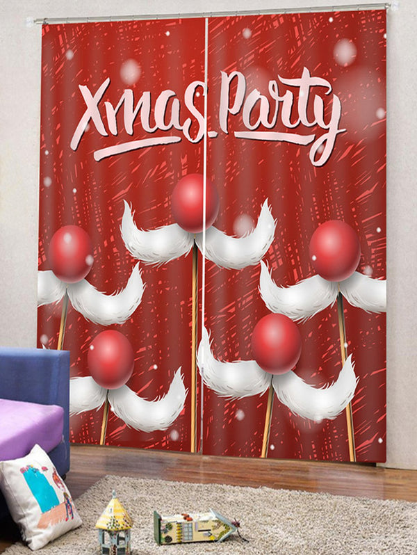 Christmas Mustache Pattern 2PCS Window Curtains