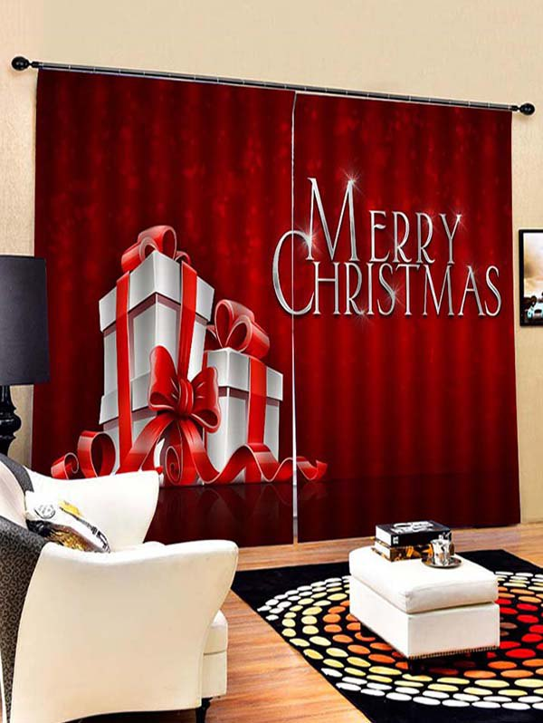 2PCS Gift Merry Christmas Window Curtains
