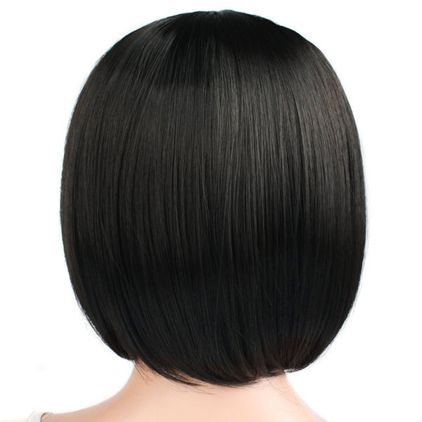 Short Straight Hair Synthetic Black Color Bob Wig with Bangs Heat Resistant