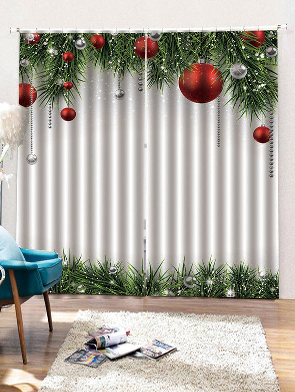 Christmas Ball Pattern 2PCS Window Curtain