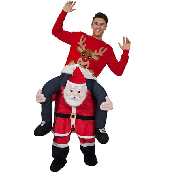 Adult Fancy Party Dress Costume Santa Claus Ride on Christmas Mascot Pants