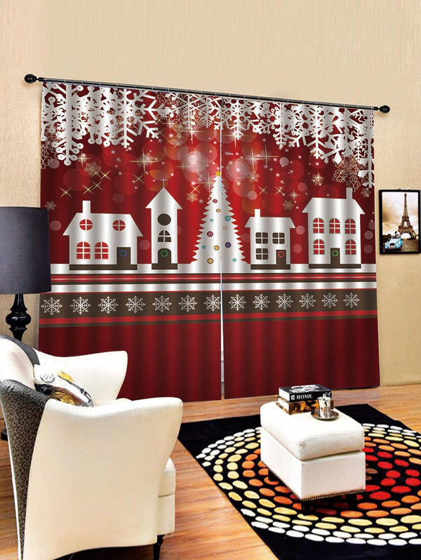 Christmas Cabin Pattern 2PCS Window Curtain