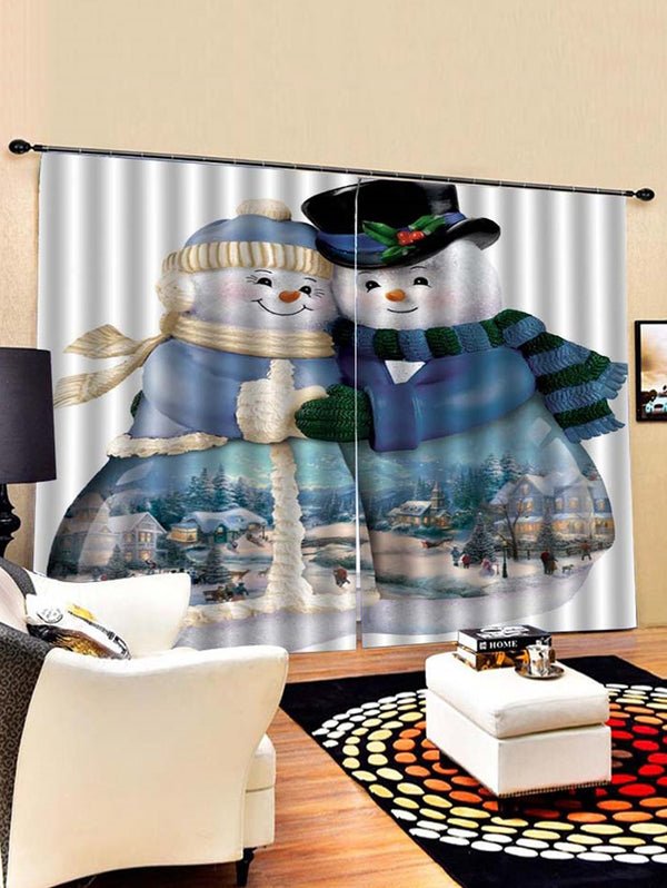 Christmas Snowmen Couples Pattern 2PCS Window Curtains