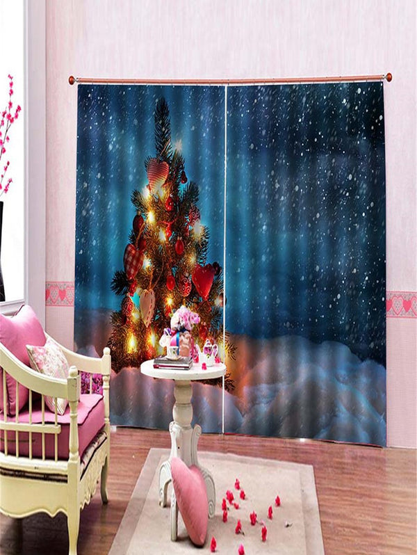 2PCS Christmas Heart Tree Pattern Window Curtains