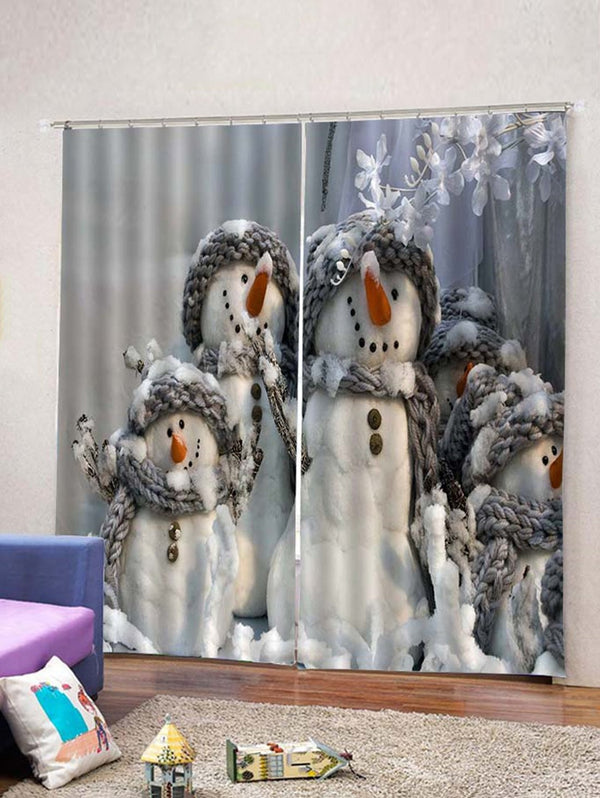 2PCS Christmas Snowmen Pattern Window Curtains