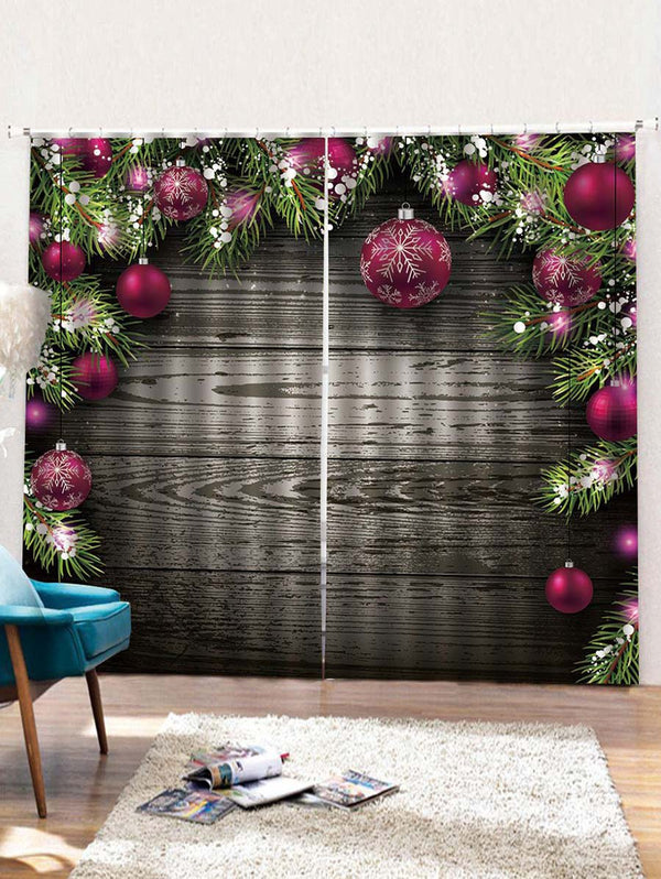 2PCS Wood and Christmas Ball Printed Window Curtains