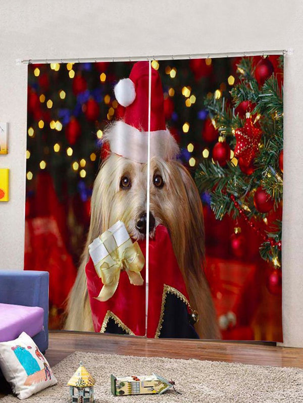Christmas Dog Printed 2PCS Window Curtains