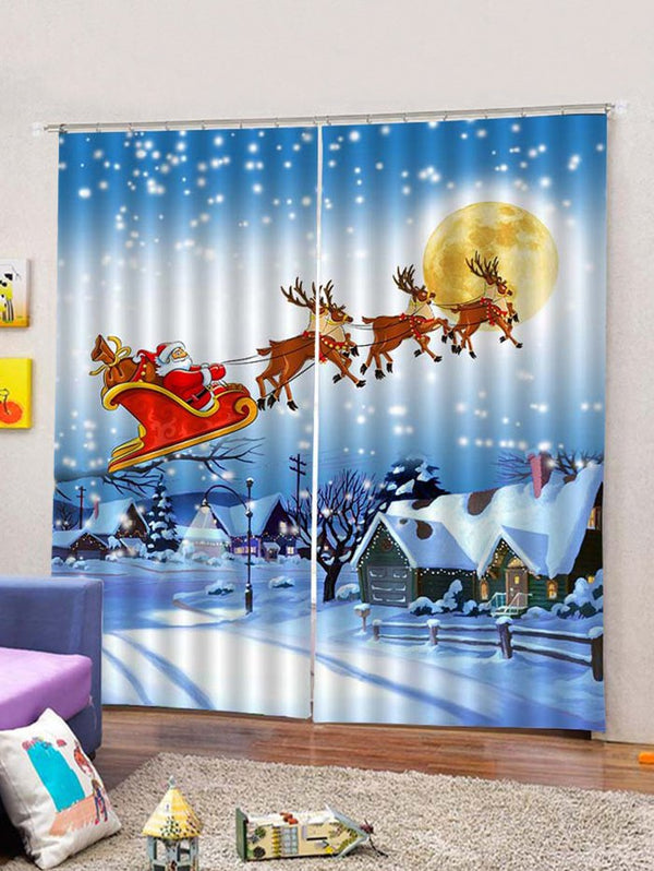 Christmas Flying Santa and Deer Printed 2PCS Window Curtains