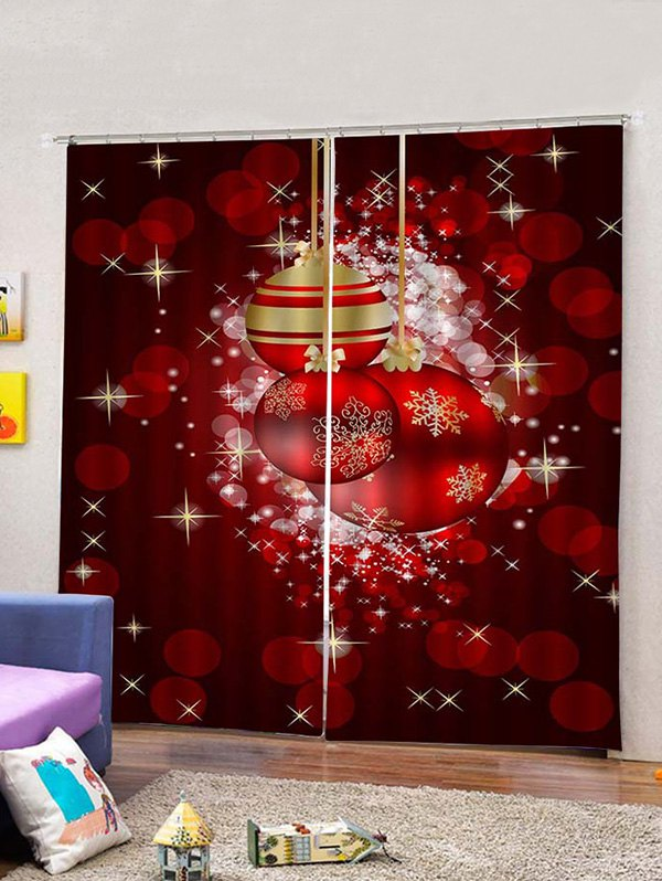 2PCS Christmas Spots and Ball Printed Window Curtains
