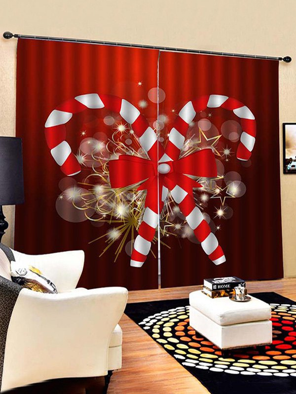 2 Panels Christmas Candy Cane Bowknot Print Window Curtains