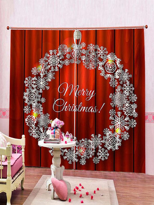 2 Panels Christmas Wreath Print Window Curtains