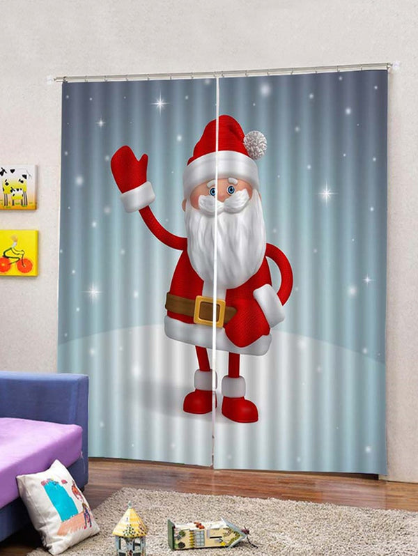 Christmas Santa Claus Print 2 Panels Window Curtains
