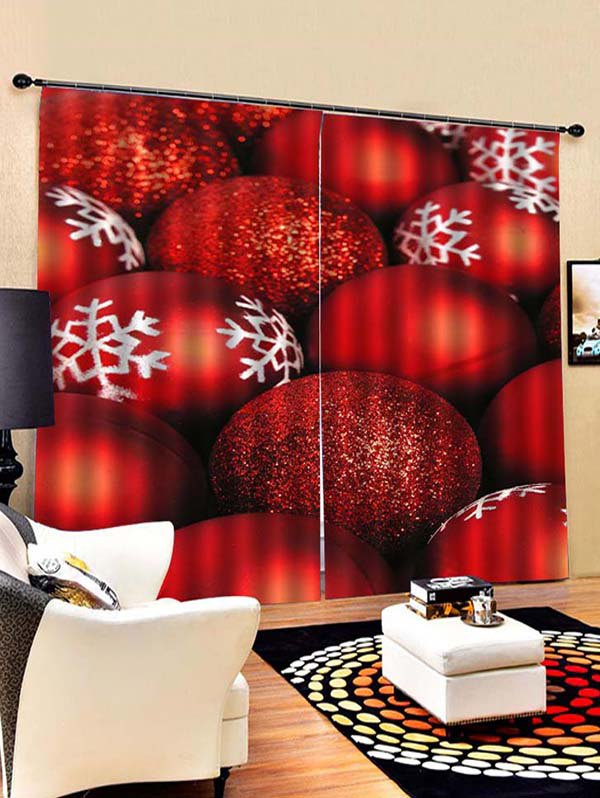 2PCS Red Christmas Snowflake Ball Printed Window Curtains