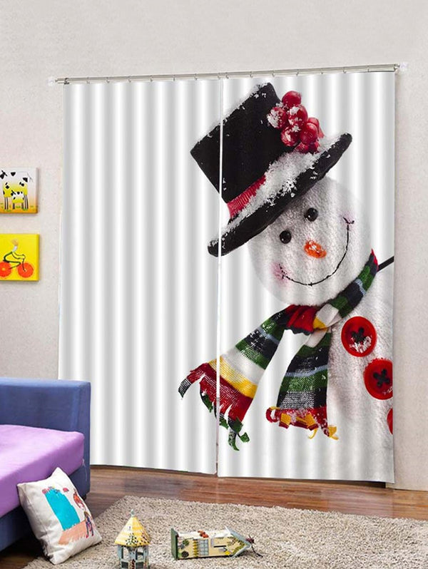 Christmas Snowman Print 2 Panels Window Curtains