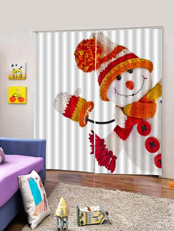 Christmas Snowman Printed 2PCS Window Curtains