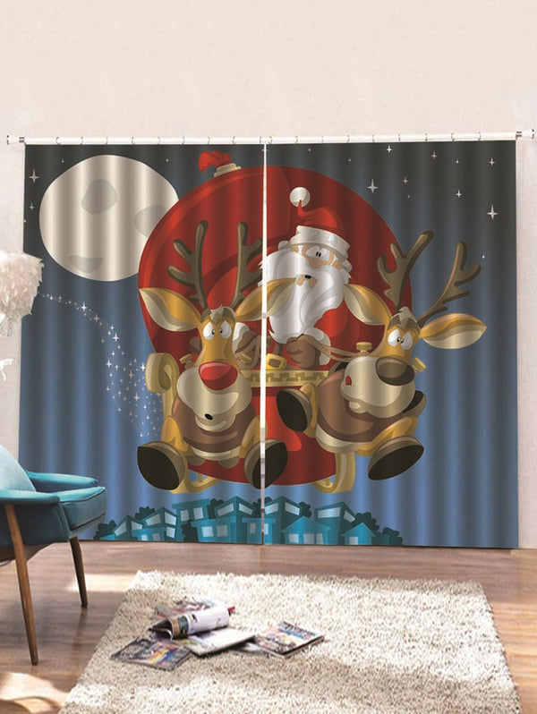 2PCS Cartoon Santa Claus Pattern Window Curtains