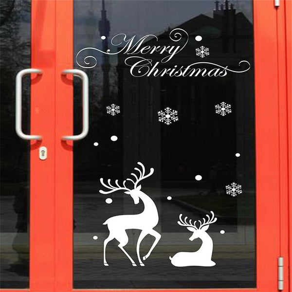 Christmas Mall Window Glass Sticker Decoration White Snowflake Reindeer