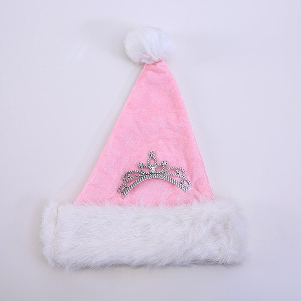 Christmas Adult Pink Crown Christmas Hat