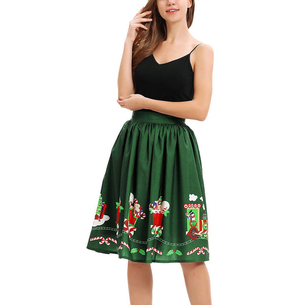 Christmas Gift Flower Digital Printing Fashion High Waist Half Body Temperament