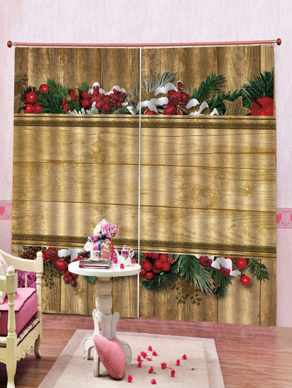 2PCS Christmas Theme Wooden Printed Window Curtains
