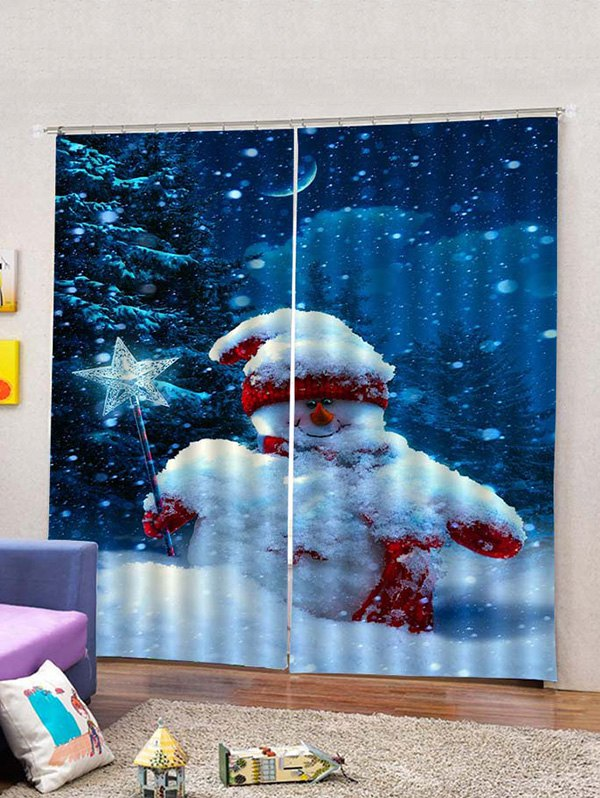 2PCS Christmas Star Snowman Window Curtains