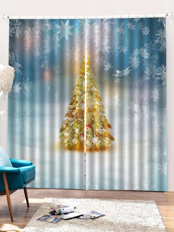 2 Panels Christmas Tree Snowflake Print Window Curtains