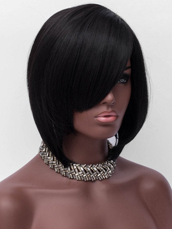 Inclined Bang Short Straight Capless Heat Resistant Synthetic Wig