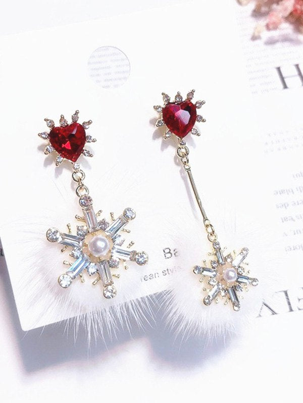 Rhinestone Heart Decor Snowflake Earrings