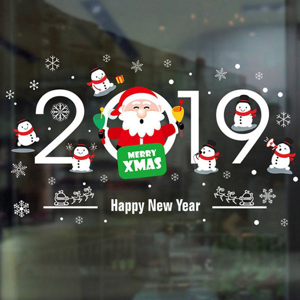 Santa Claus Hanging Shop Window Glass Door Decorative Wall Sticker
