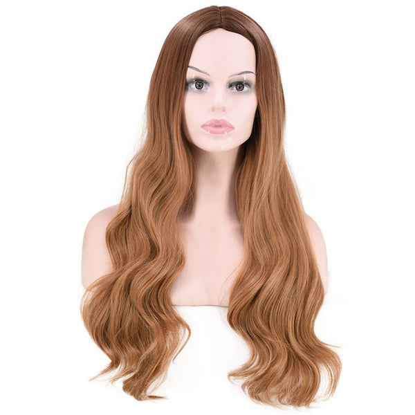 Fashion Gradient Ramp Central Parting Hair Style Big Wave Long Wig