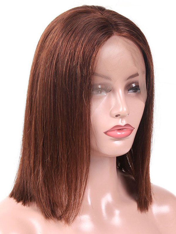 Medium Middle Part Blunt Straight Human Hair Lace Front Wig