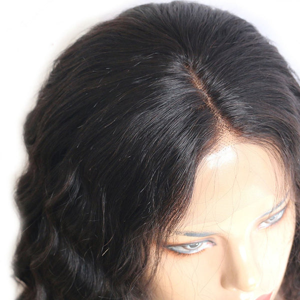 Short Side Part Natural Wave Lace Front Human Hair Wigs Natural Black Color