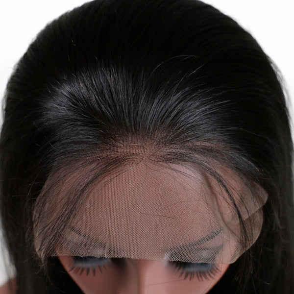 Natural Black Color Long Silky Straight Middle Part Lace Front Human Hair Wigs