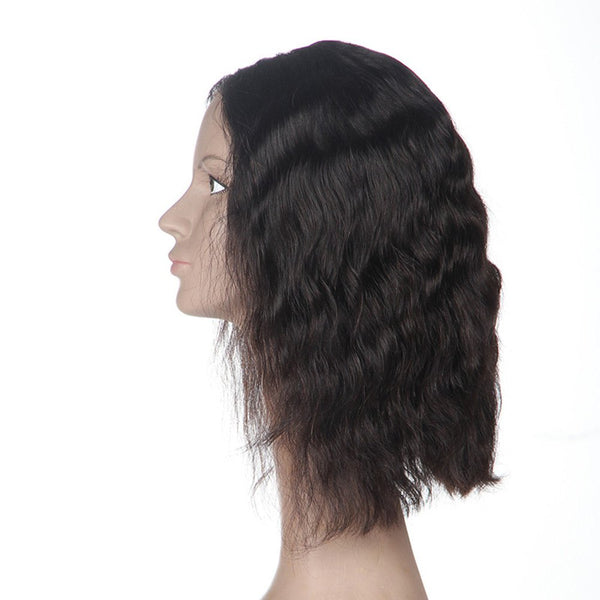 Short Natural Wave Middle Part Human Hair Lace Front Wig Bleached Knots