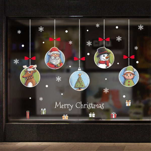 Christmas Decoration Wall Removable Stickers Christmas Bells Deer Wall Stickers