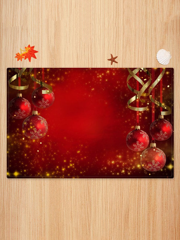 Red Christmas Balls Pattern Non-slip Area Rug