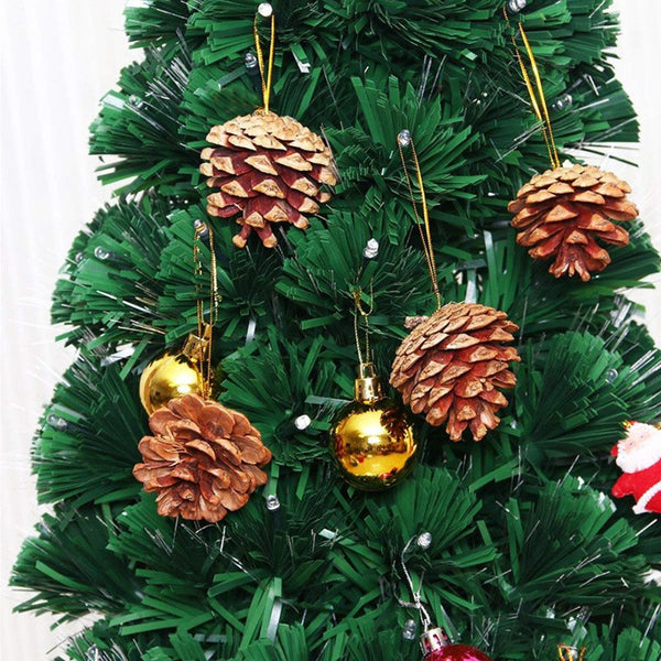 20pcs 4-6cm Christmas Pine Cones Pendant With String Natural Wood Christmas Tree