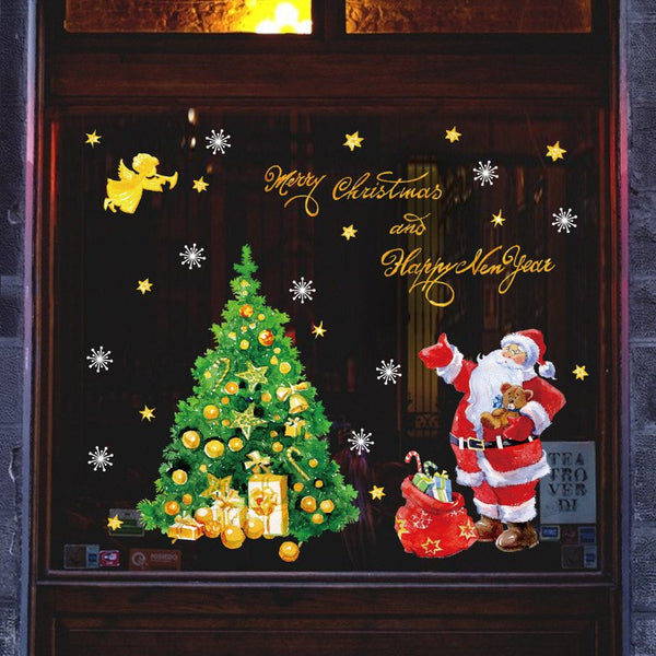 Christmas Tree Santa Claus Window Glass Sticker SK9243