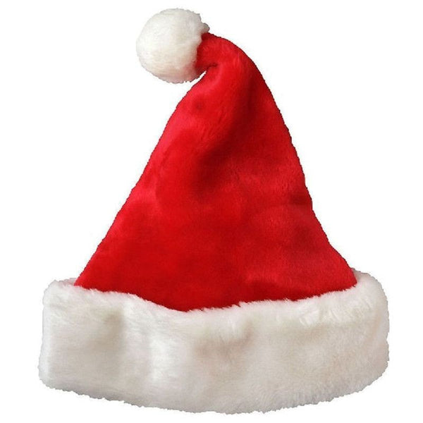 Christmas Party Santa Hat Velvet Red And White Cap for Santa Claus Costume