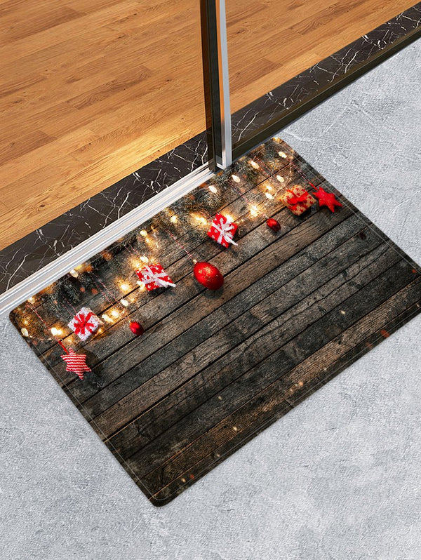 Wood Board and Gift Pattern Non-slip Area Rug