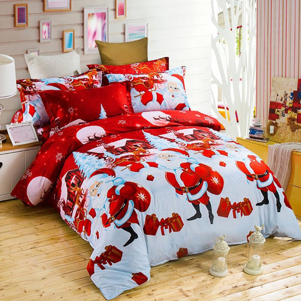 Christmas Joy Santa Happy Gifts Foreign Trade 3D Bed Home Furnishing Bedding 3pcs