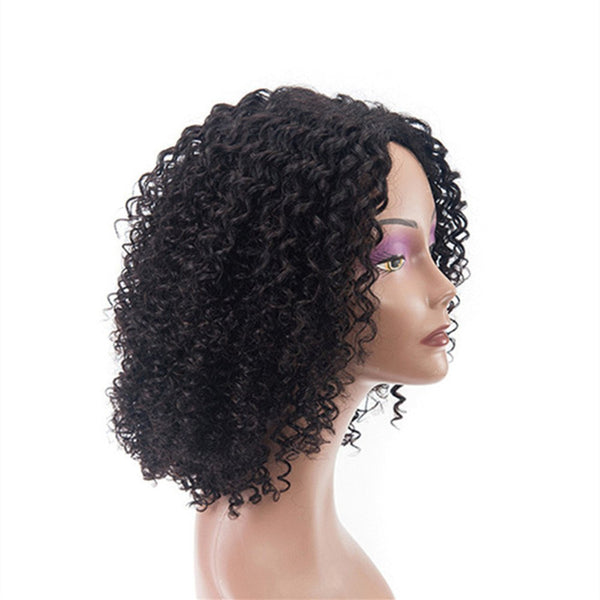 Short Curly Human Hair Lace Front Glueless Wig Natural Black Color