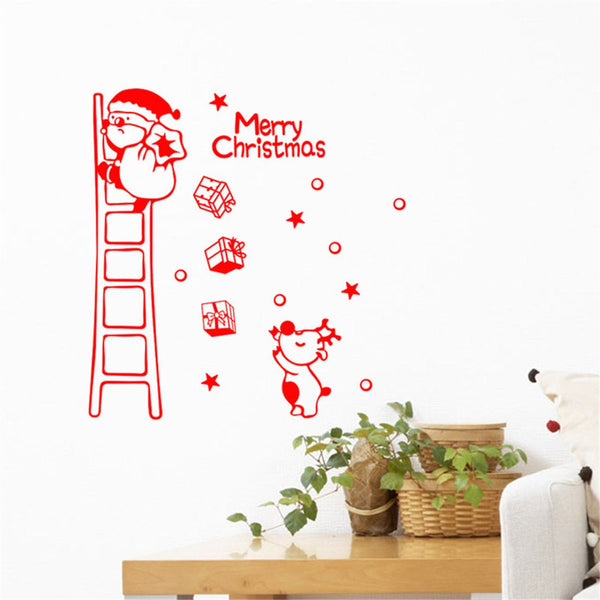 Christmas Snowflake Deer Decal Window Stickers Removable DIY Glass Wall Sticker
