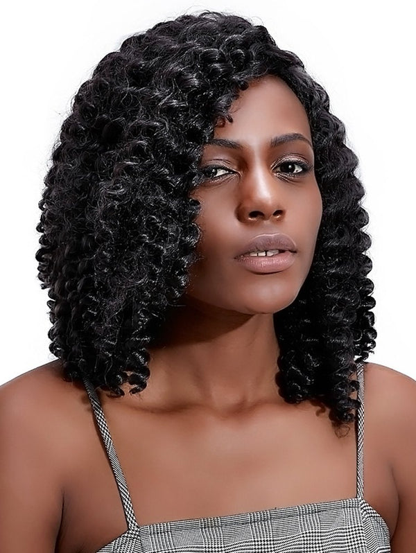 Side Bang Curly Medium Synthetic Wig