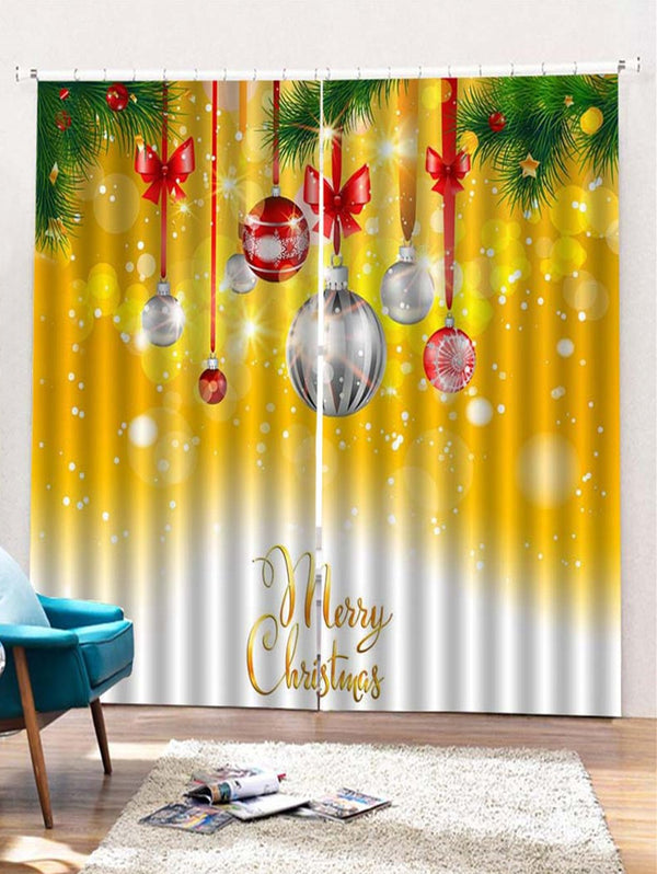 2PCS Christmas Baubles Pattern Waterproof Window Curtains