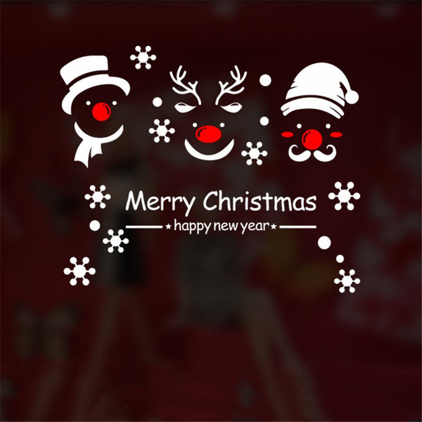 Red Nose Santa Reindeer Snow Glass Window Sticker Removable
