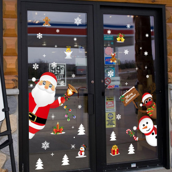 Cartoon Santa Elk Snowflake Glass Window Sticker Removable for Home Decal