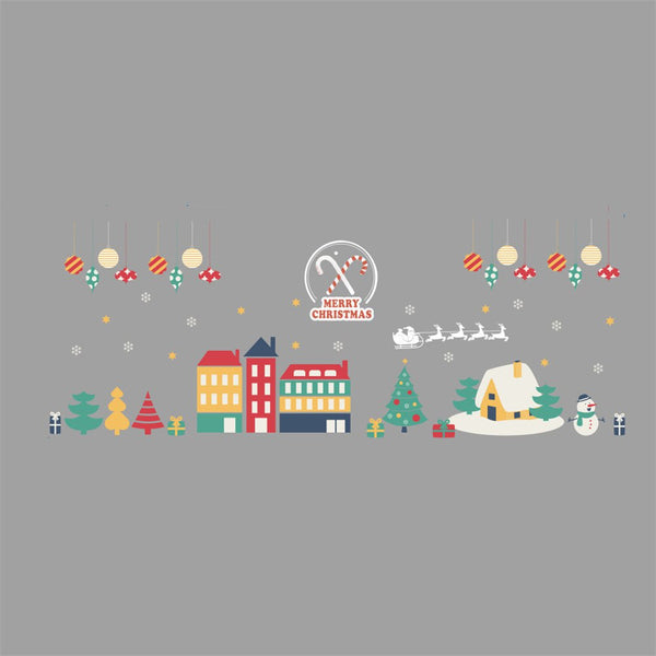 Christmas Decoration Window Glass Stickers Merry Christmas Santa Claus Snow