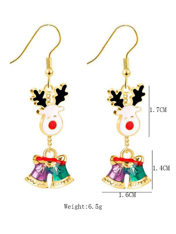 Christmas Smile Deer Printed Drop Earrings