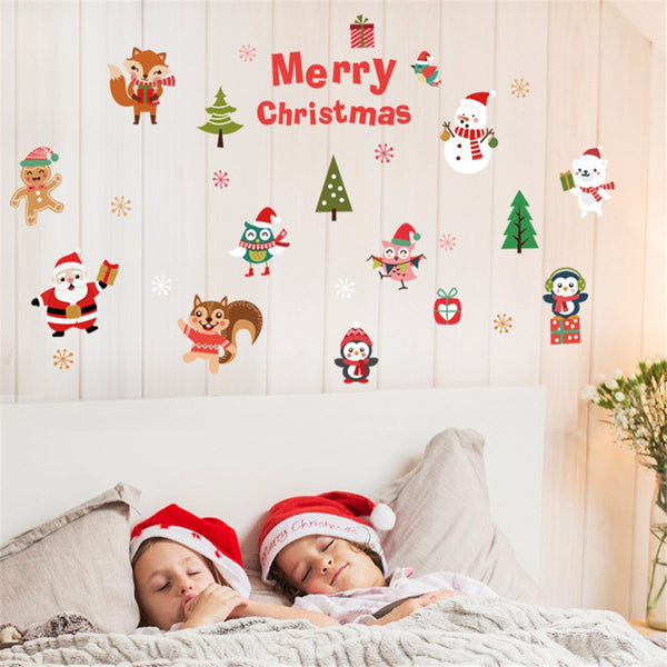 Lovely Animal Christmas Sticker Bedroom Background Wall Sticker Removable